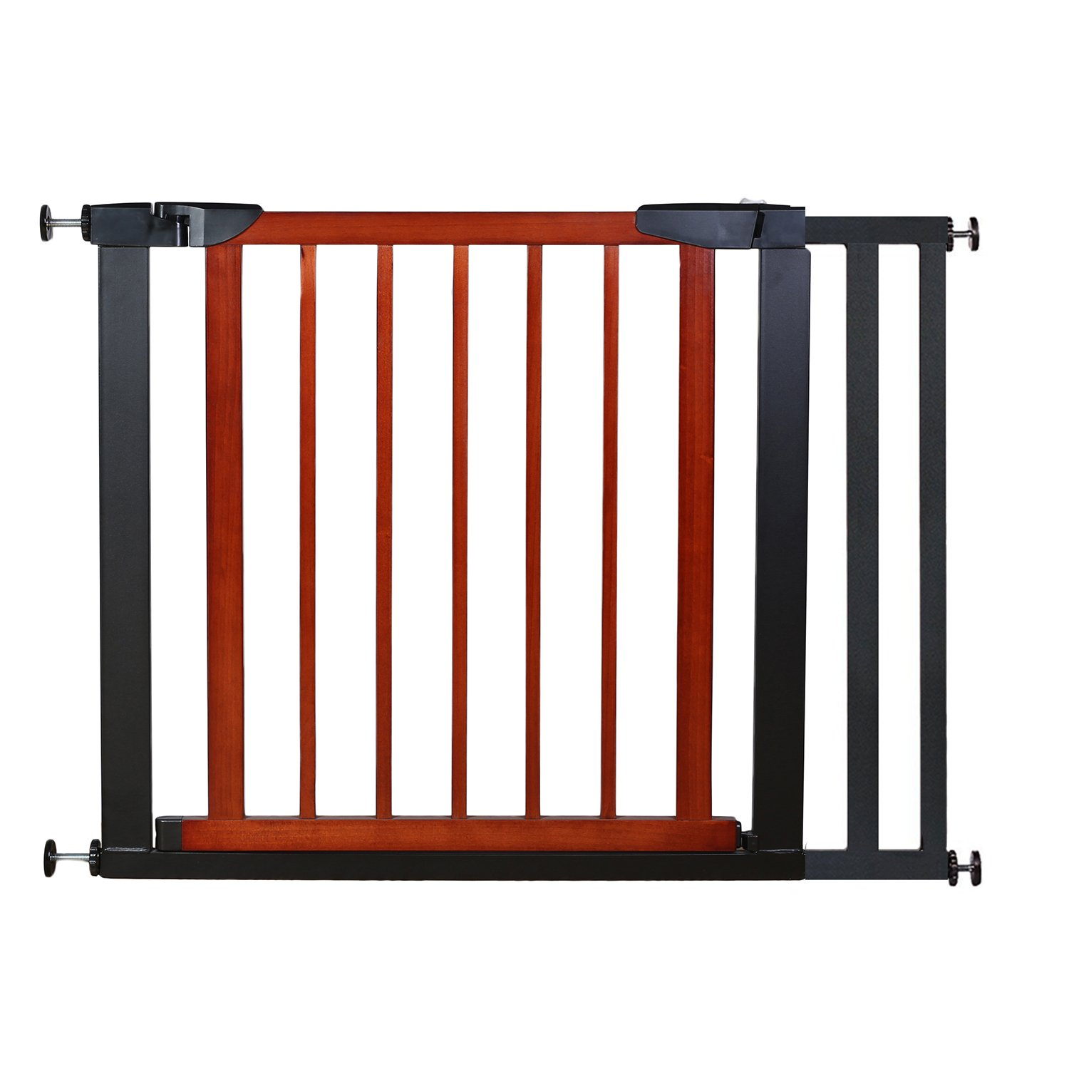Fairy Baby Pet Baby Gate Narrow Extra Wide for Stairs Metal and Wood Pressure Mounted Safety Walk Through Gate,Fit Spaces 59.84 -62.60