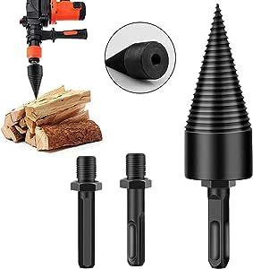 Xuzime Wood Splitter Drill Bit,3 pcs Removable Wood Splitter Drill Bits,Firewood Kindling Splitter Screw for Hand Drill Stick (Round 32mm)
