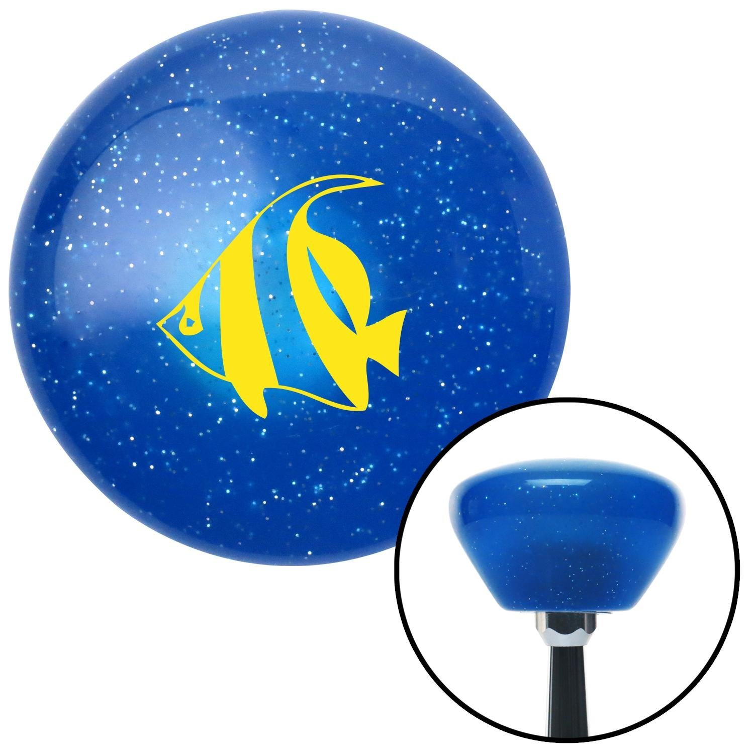 American Shifter 189446 Blue Retro Metal Flake Shift Knob with M16 x 1.5 Insert Yellow Clown Fish