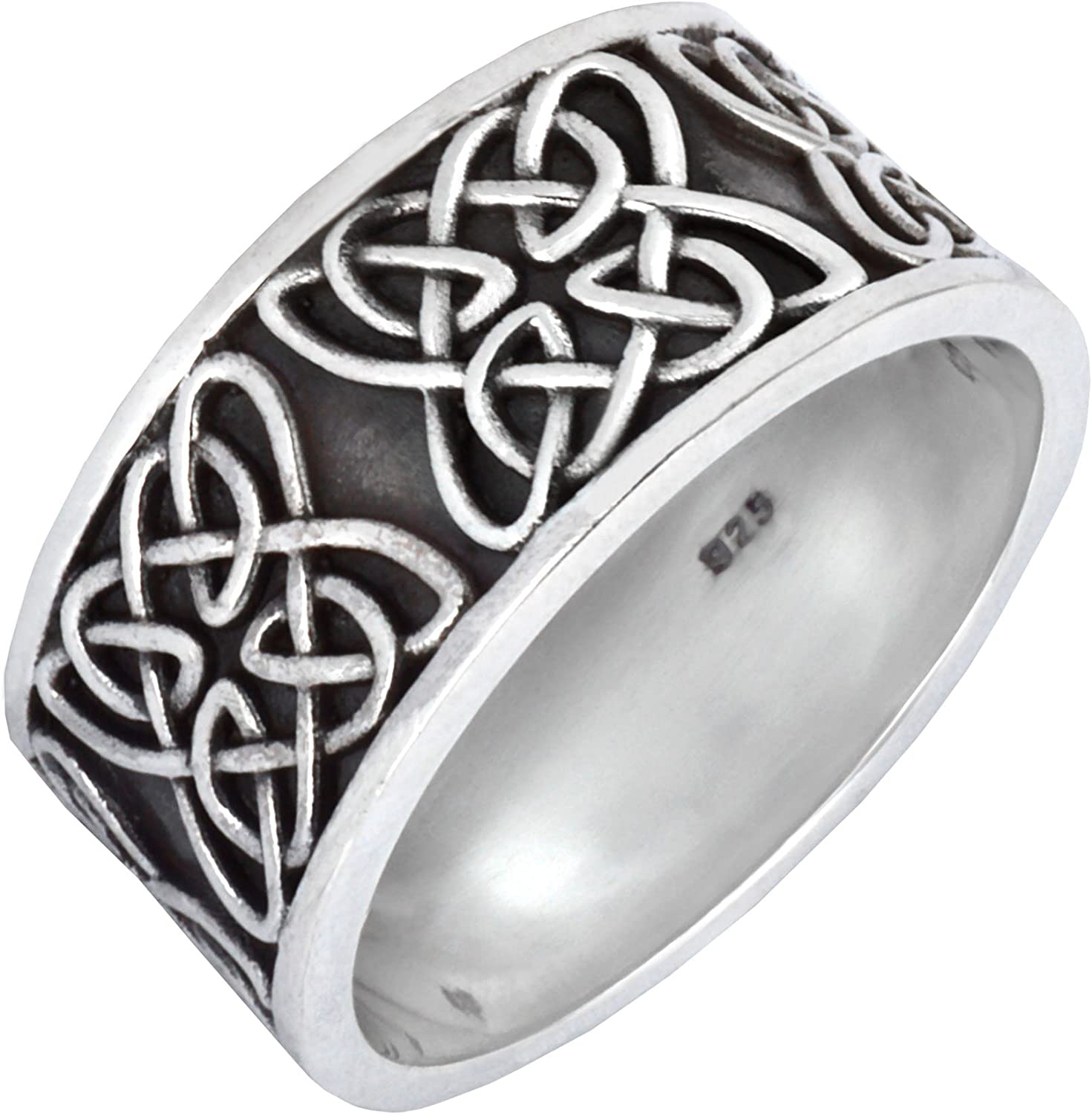 Silverly Mens Womens .925 Sterling Silver Chunky Celtic Knot Pattern Symbol Band Ring