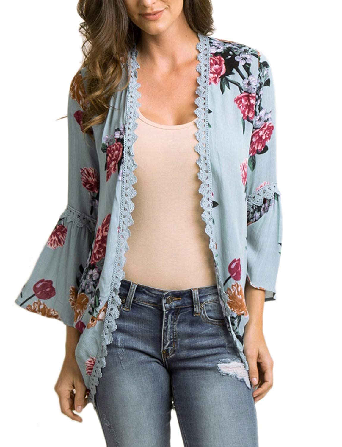 bluee Chunoy Women Casual Floral Bell Sleeve Hollow Out Open Front Kimono Blouse Top