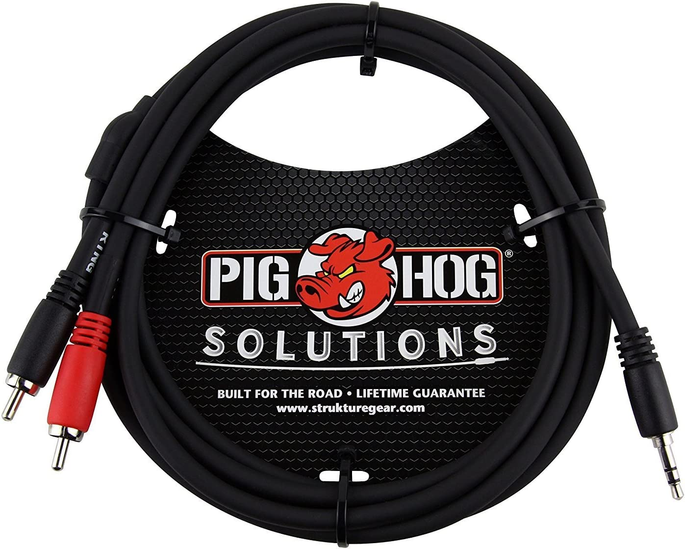 10 Feet Stereo Breakout Cable Pig Hog PB-S3R10 3.5 mm to Dual RCA Male