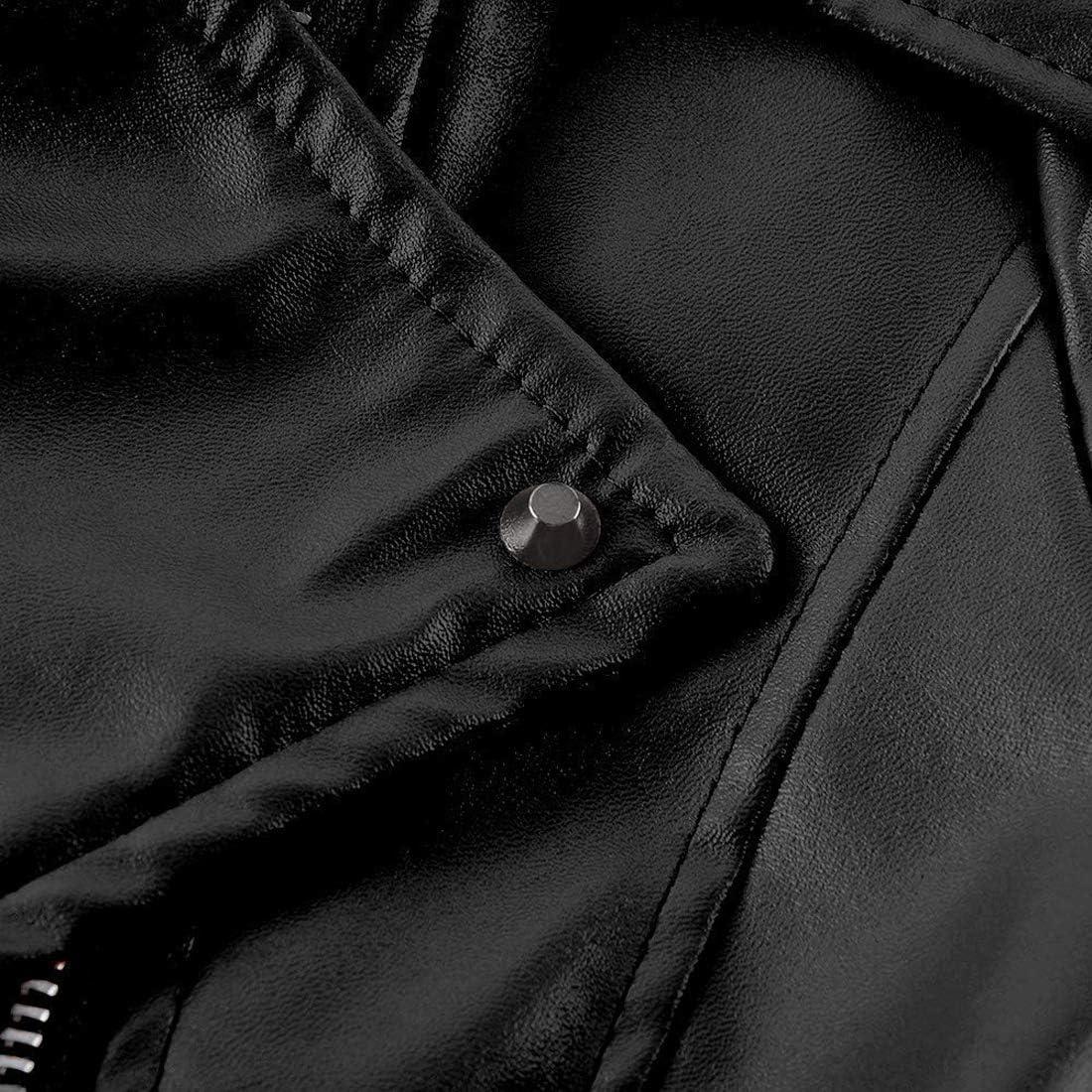 BAIHUODRESS Donne Giacca da Motociclista in Pelle con Cerniera Multi-Zip Manica Lunga con Risvolto Sottile Soprabito Corto Soprabito da Giacca