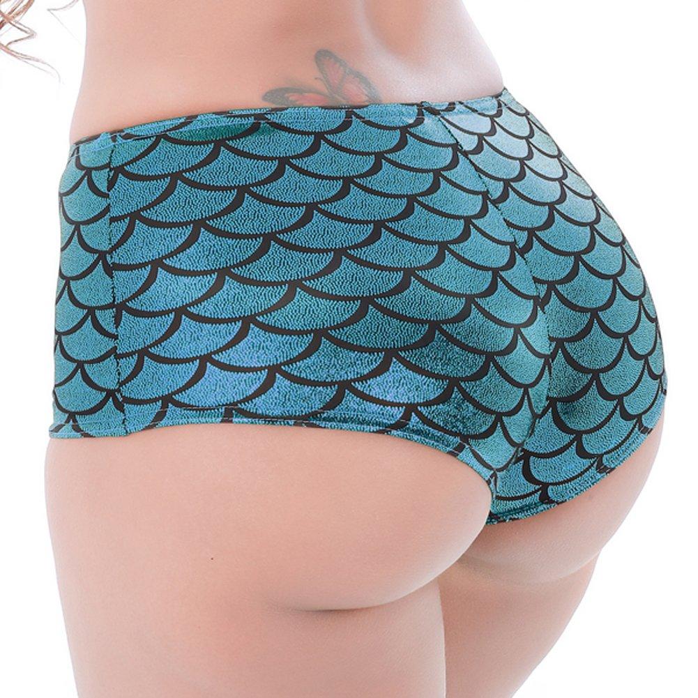 LVYI Women's Shiny Mermaid Fish Scale High Waist Shorts