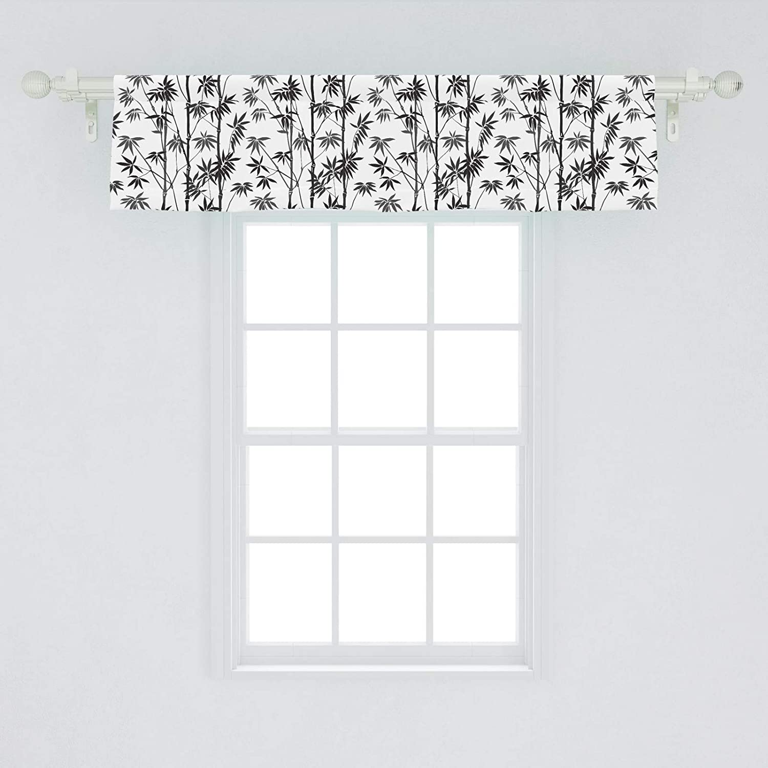 "Lunarable Bamboo Window Valance, Monochrome Exotic Trees Pattern Flora Garden Japanese Nature, Curtain Valance for Kitchen Bedroom Decor with Rod Pocket, 54"" X 12"", White and Black"