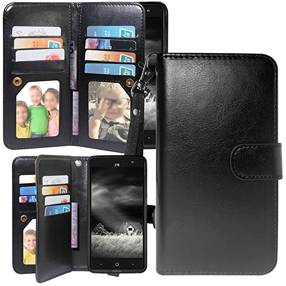 sports shoes b856c eb8e7 ZTE Blade Spark Case, ZTE Grand X 4 Case, Harryshell Luxury 12 Card Slots  Kickstand Shockproof PU Leather Wallet Flip Protective Case Cover Wrist ...