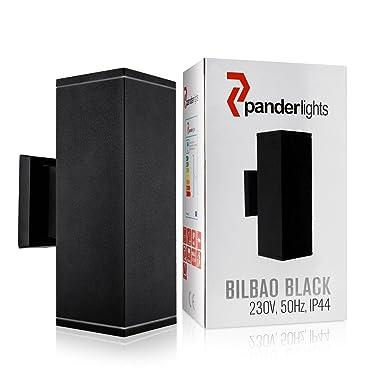 PanderLights Bilbao Negro Lámpara de pared LED IP44 CE, no incluye bombillas, GU10 230.00 voltsV: Amazon.es: Iluminación
