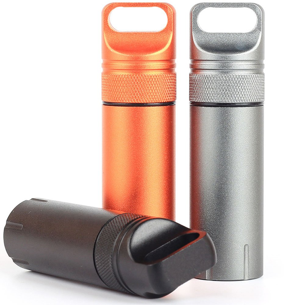 Eclimb 3pcs Portable Waterproof Aluminum Pill Box Bottle Storage Drug Holder Container Keychain for Outdoor Camping Travel