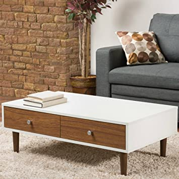 Amazon.com: Contemporary White Coffee Table with Storage for ...