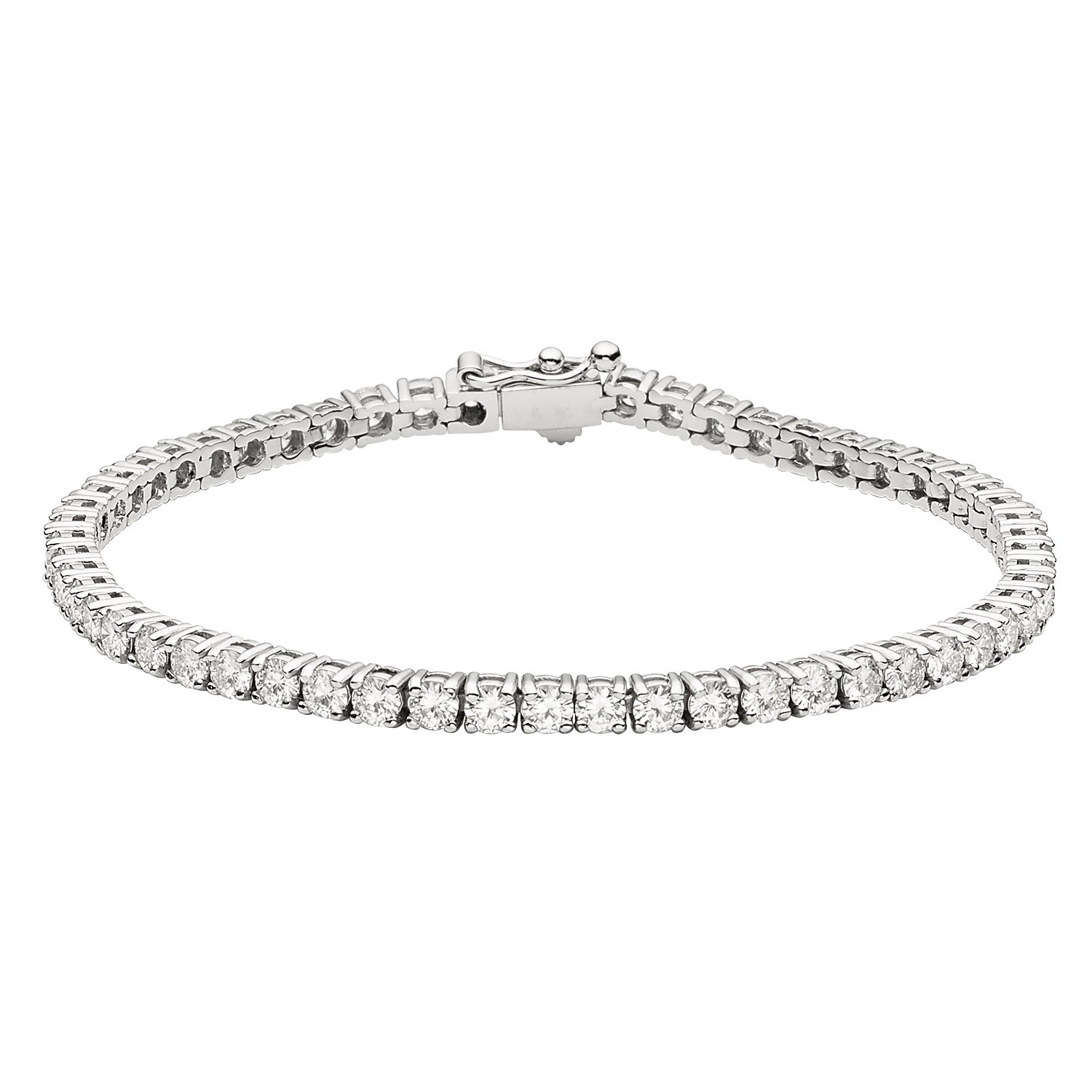 14K White Gold Round Brilliant Cut 3.0mm Moissanite Tennis Bracelet, 5.30cttw DEW By Charles & Colvard by Charles & Colvard