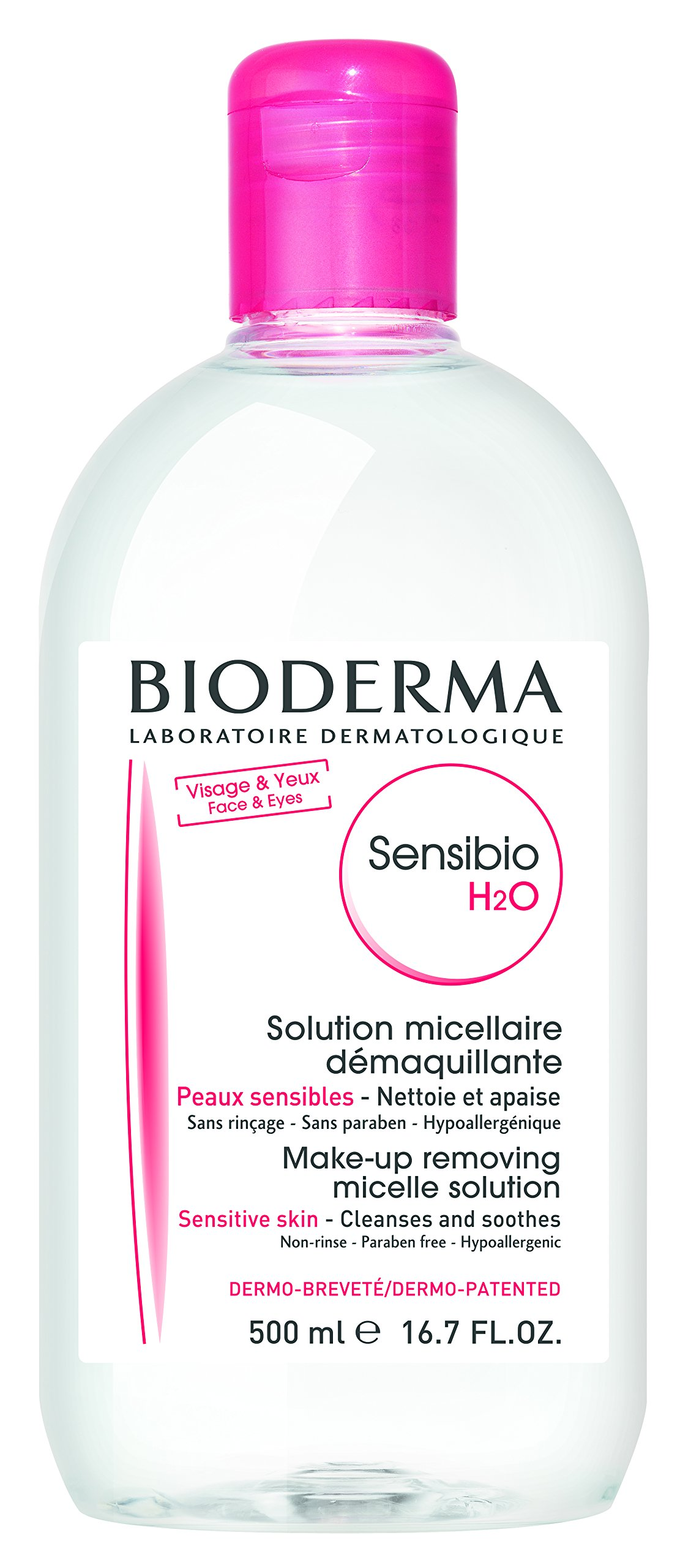 Bioderma Sensibio H2O Soothing Micellar Cleansing Water and Makeup Removing Solution for Sensitive Skin - Face and Eyes - 16.7 Fl Oz (Pack of 1) by Bioderma