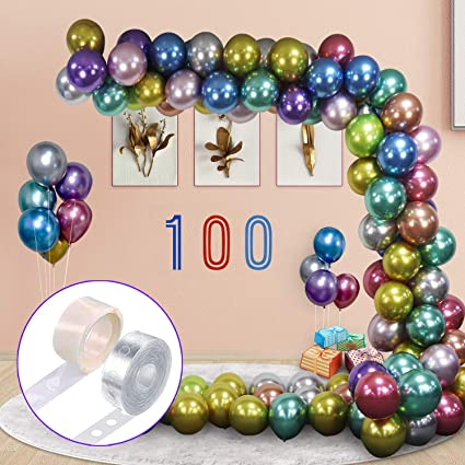Latex Pink Rose Gold Chrome Helium Balloons for Christmas Wedding Birthday Party Decorations Multicolor ODDEL 12 Inch Metallic Balloons 100 Pcs Balloons Bulk with Balloon Arch Garland Kit Strip