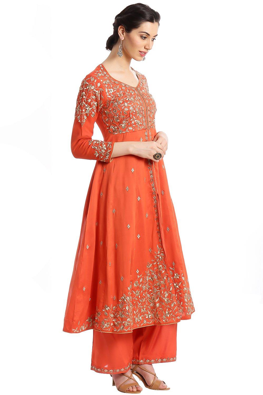 BIBA Women's Front Open Poly Cotton Suit Set 36 Orange by Biba (Image #3)