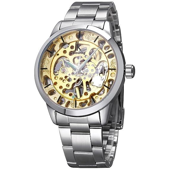 JIANGYUYAN para hombre hueca Golden Relojes Hombres Esqueleto Reloj mecánico acero inoxidable Top marcas lujo hombre reloj Montre Homme reloj de pulsera: ...