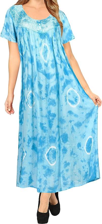 LA LEELA Noche Ropa de Playa del Tinte del Lazo del Traje de baño del Bikini de Las Mujeres Cubrir Azul Vestido caftán