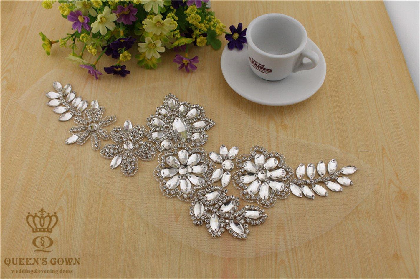 Envío gratuito novia Rhinestone cinturón Crystsal Floral Sew vestido de boda: Amazon.es: Juguetes y juegos