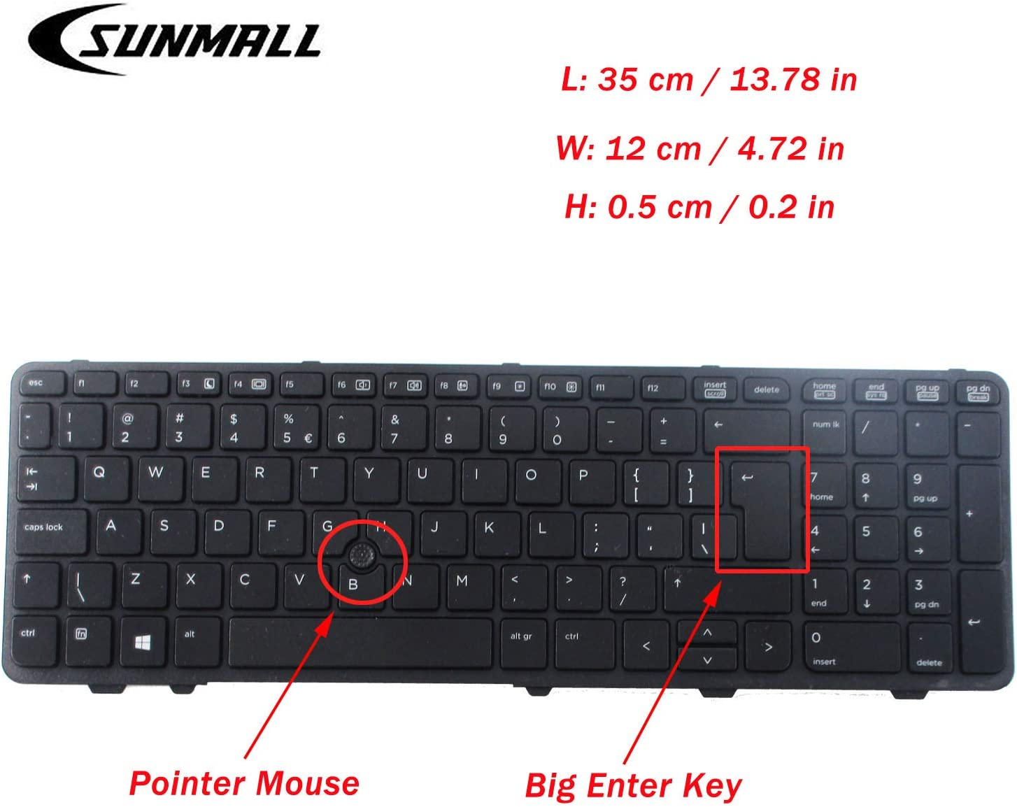 SUNMALL Keyboard Replacement with (Point Mouse) and (Big Enter Key) Compatible with HP Probook 650 g1 and 655 g1 Laptop