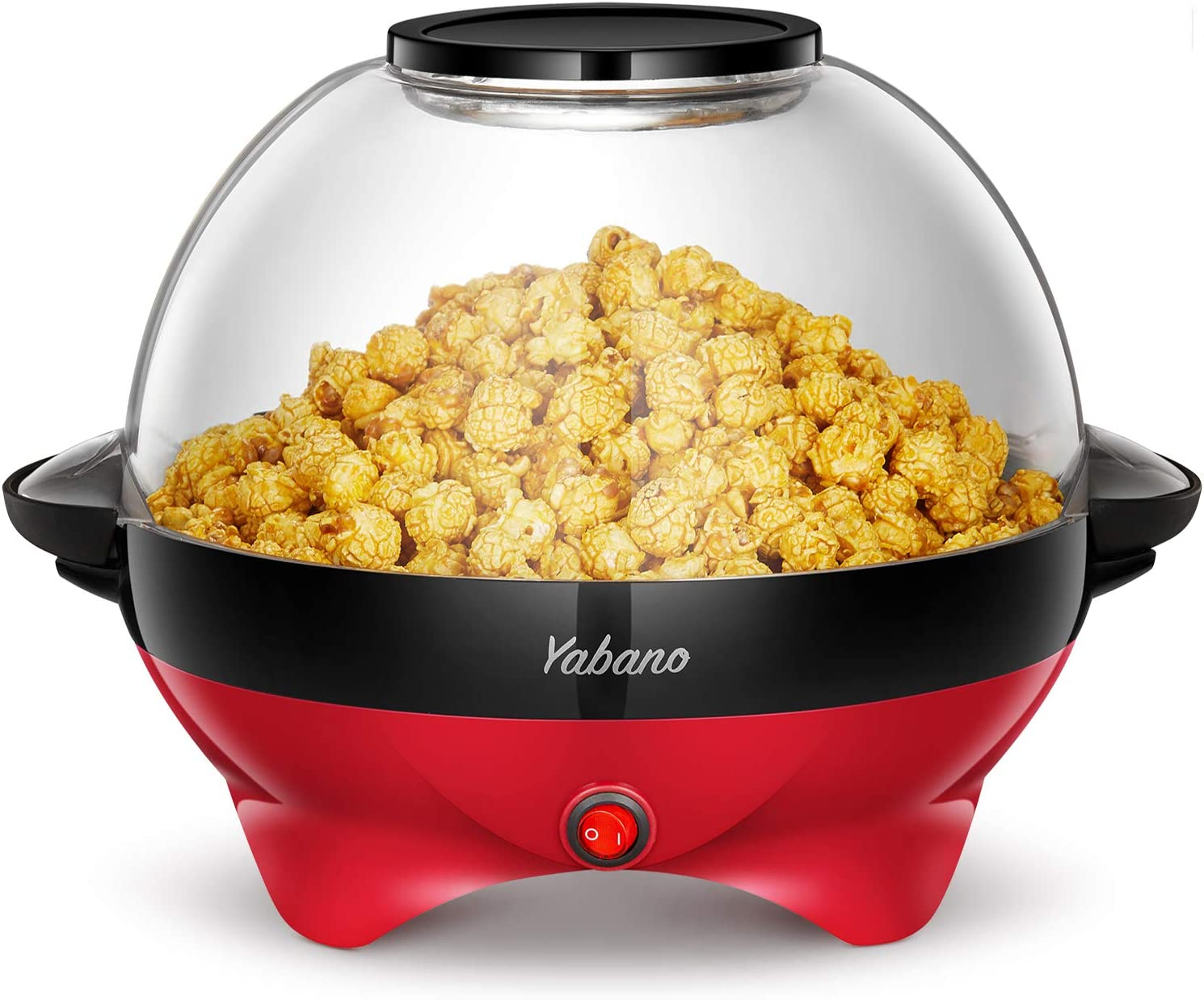 Popcorn Machine, 6-Quart Popcorn Popper maker, Nonstick Plate, Electric Stirring with Quick-Heat Technology, Cool Touch Handles, 2 in 1 Thicken Transparent Cover, Makes 24 Cups of Popcorn, Dishwasher Safe, 800W, Red, by Yabano