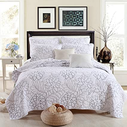 Best Comforter Set Shylock White Embroidered 3 Piece Cotton Bedspreads  Quilts Set Queen