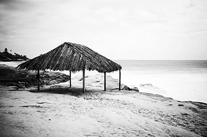 Windansea hut san diego beach black and white landscape photography