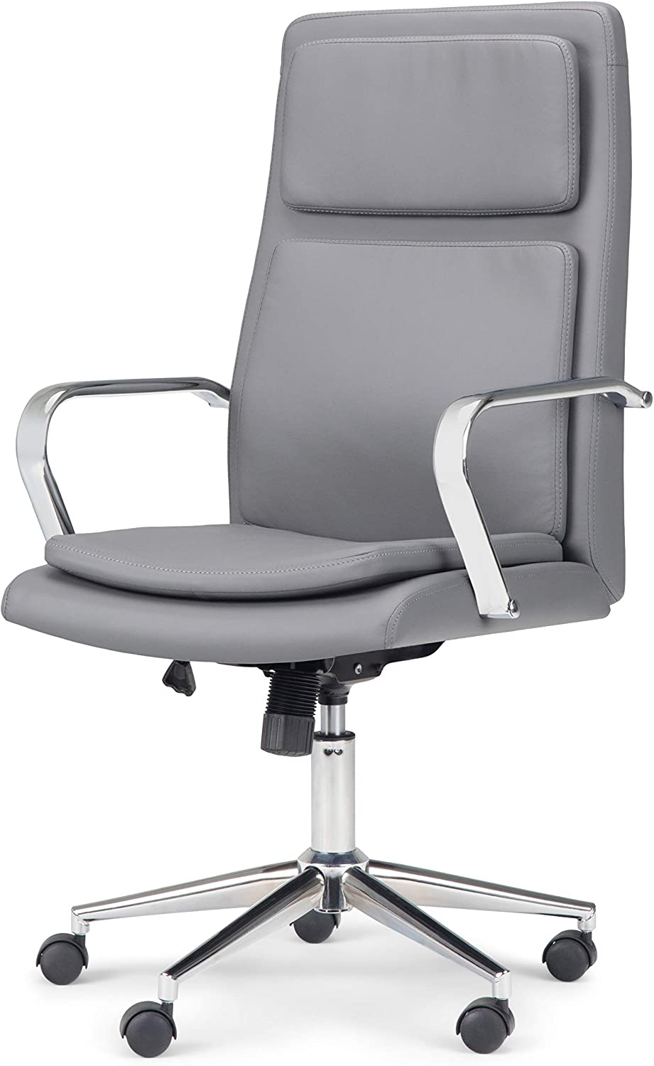 Simpli Home Swanson Swivel Adjustable Executive Computer Office Chair in Stone Grey