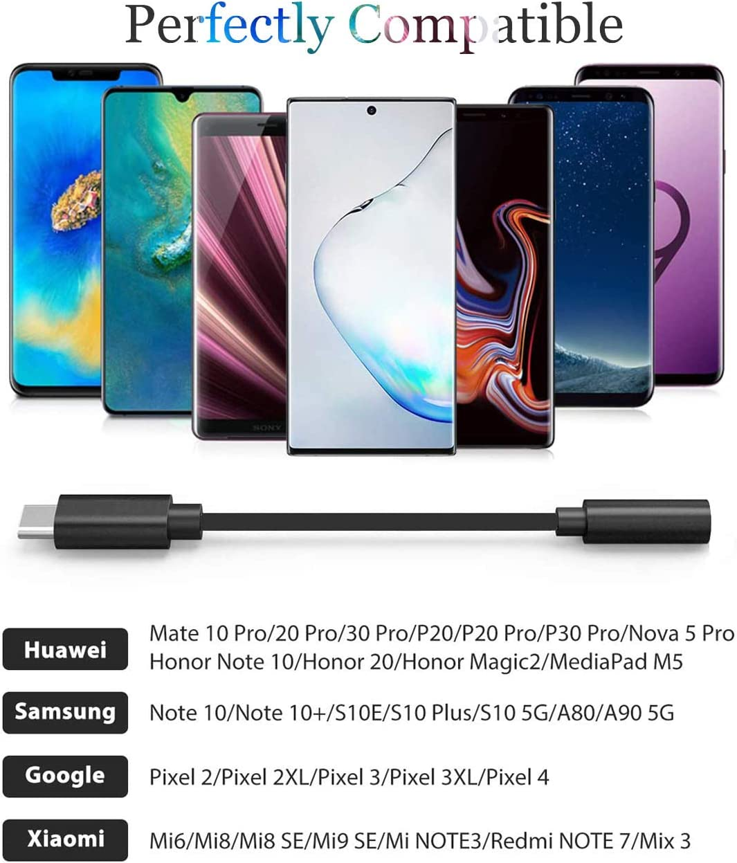 Type C to 3.5mm Audio Adaptor Compatible with Huawei P30/P20/Mate ...