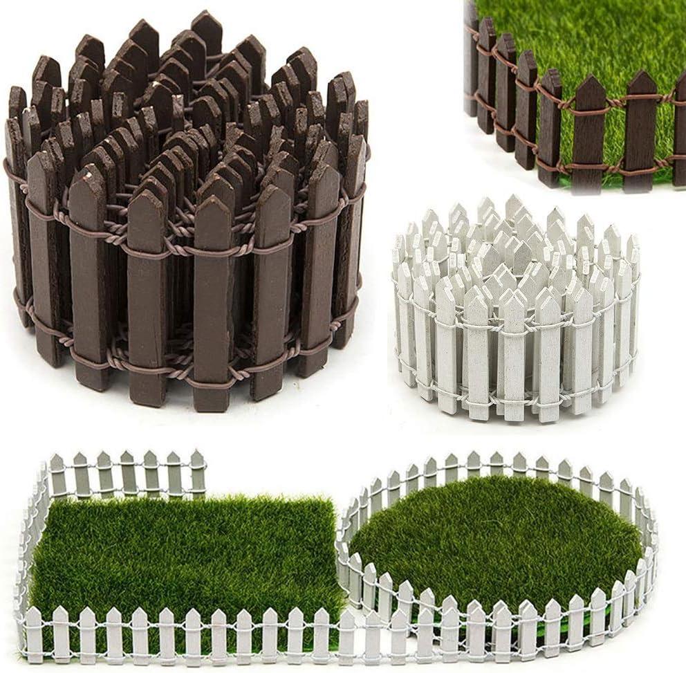 ABD 100cm*5cm Miniature Small Wood Fence DIY Dollhouse Fairy Garden Micro Plant Pot Decor Bonsai Terrarium Ornament (Color : Coffee 3CM) Red 5cm