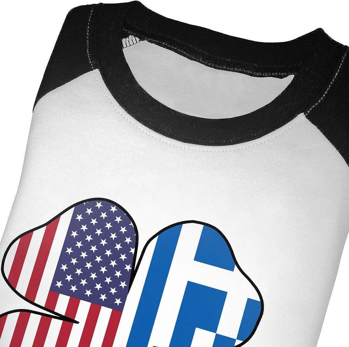 QPKMRTZTX0 Boys Girls Kids /& Toddler American Greece Greek Flag Shamrock Long Sleeve Tees 100/% Cotton