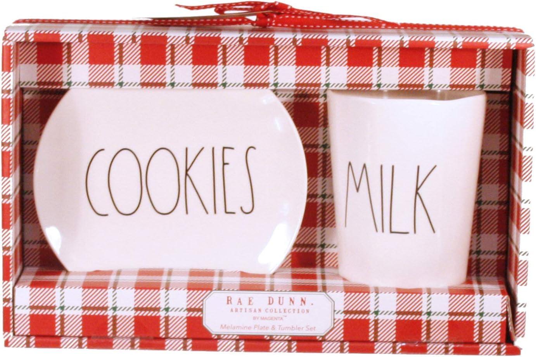 Rae Dunn Santas Cookies and Milk Melamine Mug and Plate Set LL Large Letter Christmas Eve Gift