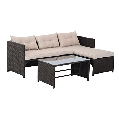 Amazon Outsunny 3 Piece Outdoor Rattan Wicker Sofa and Chaise