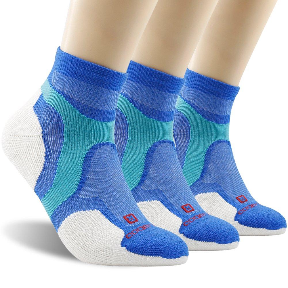 Running Socks, ZEALWOOD Merino Wool Low Cut Cycling Socks for Men and Women,Women Christmas Gifts Christmas Socks Unisex Breathable Sport Socks-Blue/White,Small, 3 Pairs by ZEALWOOD (Image #1)