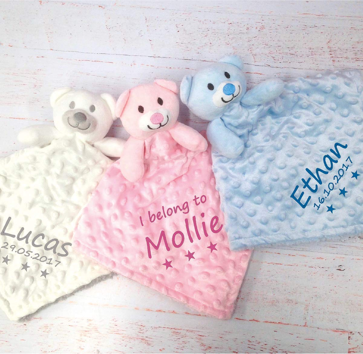 61b56887c3958 Personalised baby comforters Teddy bear blanket personalised gifts for baby  girl personalised gifts for baby boy