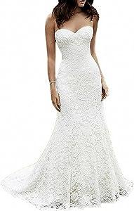 SIQINZHENG Sweetheart Full Lace Wedding Dress