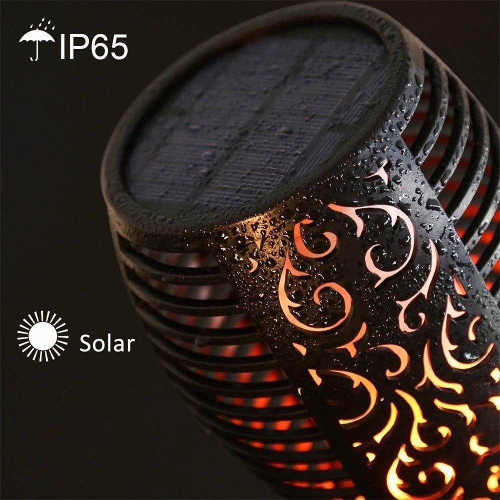 Solar Garten Flammen Fackeln Solarleuchten Flammeneffekt Außen Solar Licht Flamme Beleuchtung 96 LED Flickering Fackeln spotlight Gartenleuchte Solarlampen Outdoor Wasserdicht IP65 (2 pack) 8 Pack