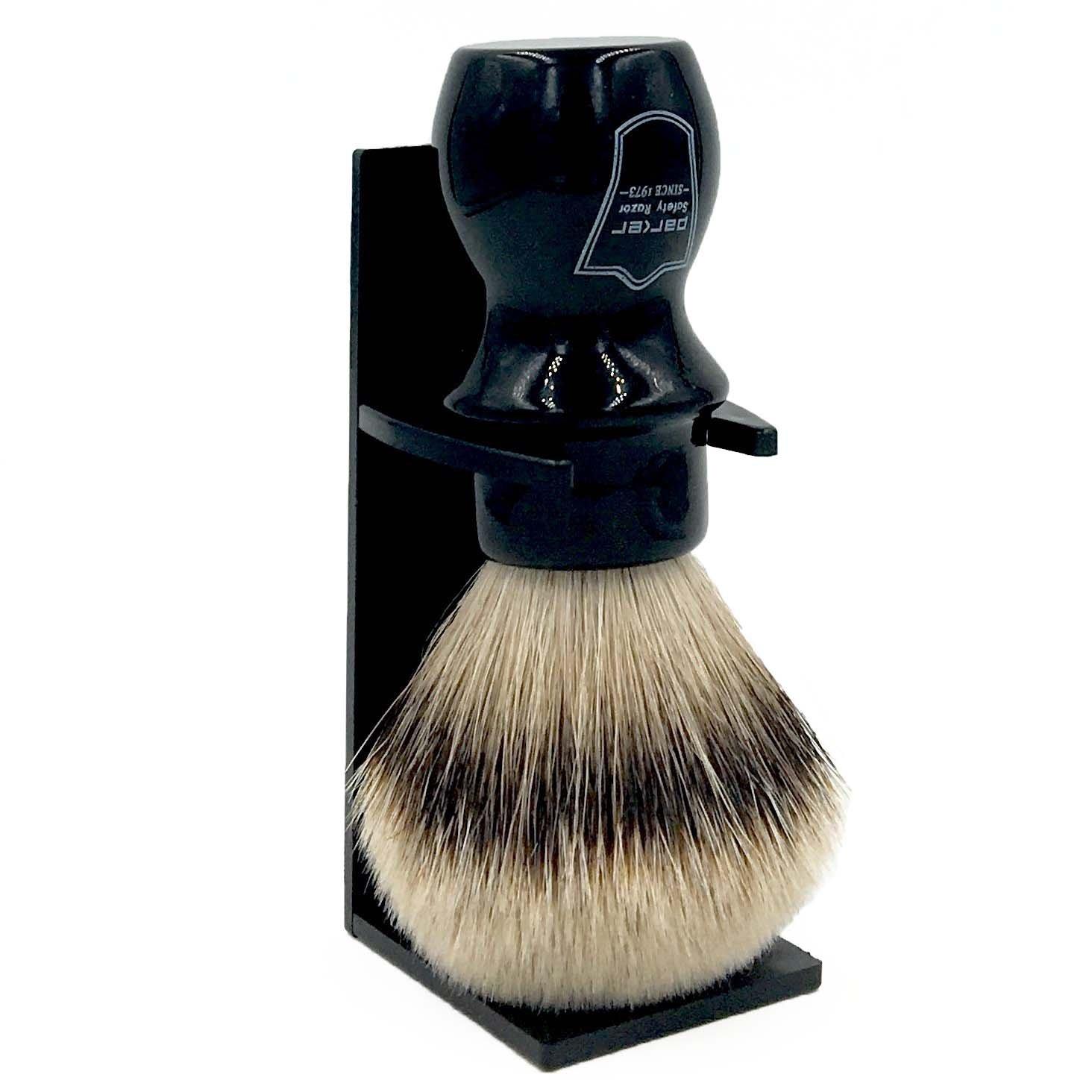 Parker Safety Razor Handmade Deluxe ''Mug Shaving Brush'' - 100% SILVERTIP BADGER BRISTLES -- Brush Stand Included - Black Handle