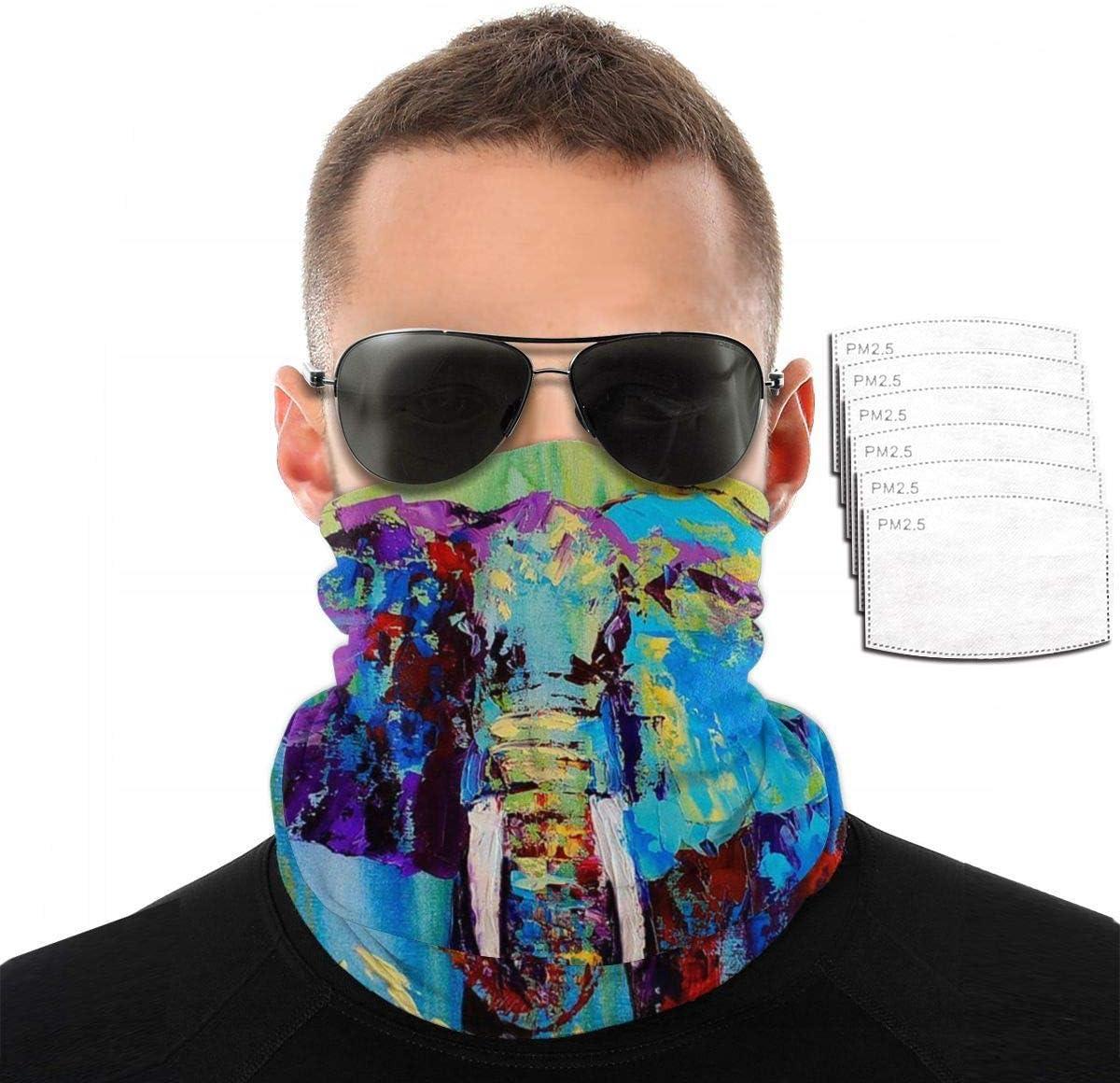 Mamihong Máscara Facial de Polaina de Cuello Unisex de Elefante Africano de Vida Silvestre con 6 filtros, pasamontañas de protección UV, Bufanda de Bandana a Prueba de Polvo