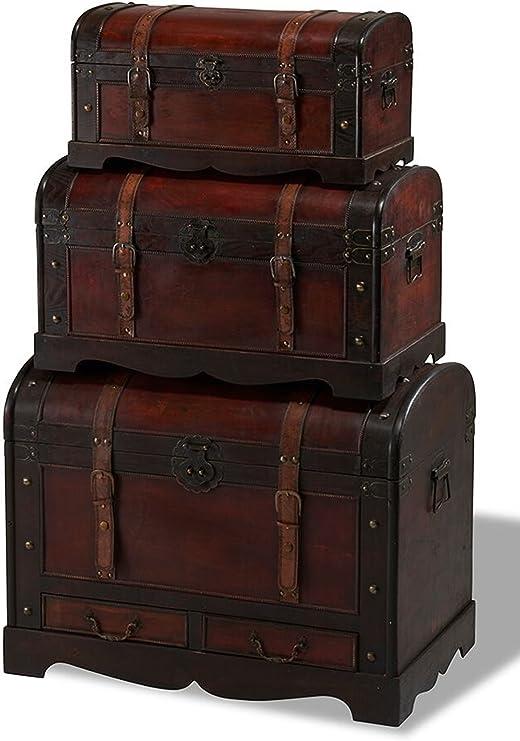 Juego de 3 baúles Kiras en color marrón madera baúl Muebles – Baúl de caja rústico: Amazon.es: Jardín