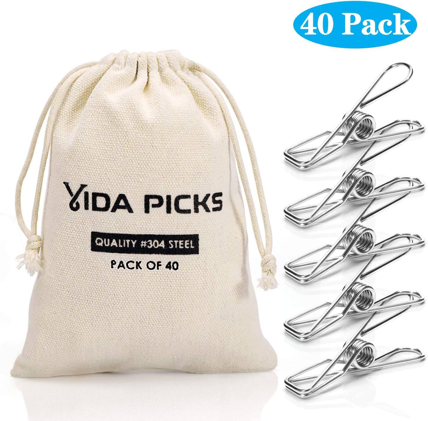 Wire Clothespins Laundry Chip Clips-40 Pack Bulk Clothes Pins with Heavy Duty, Durable Clamp Metal Clothes Pegs Multi-purpose for Outdoor Clothesline Home Kitchen Travel Office Decor Food Bag (Silver)