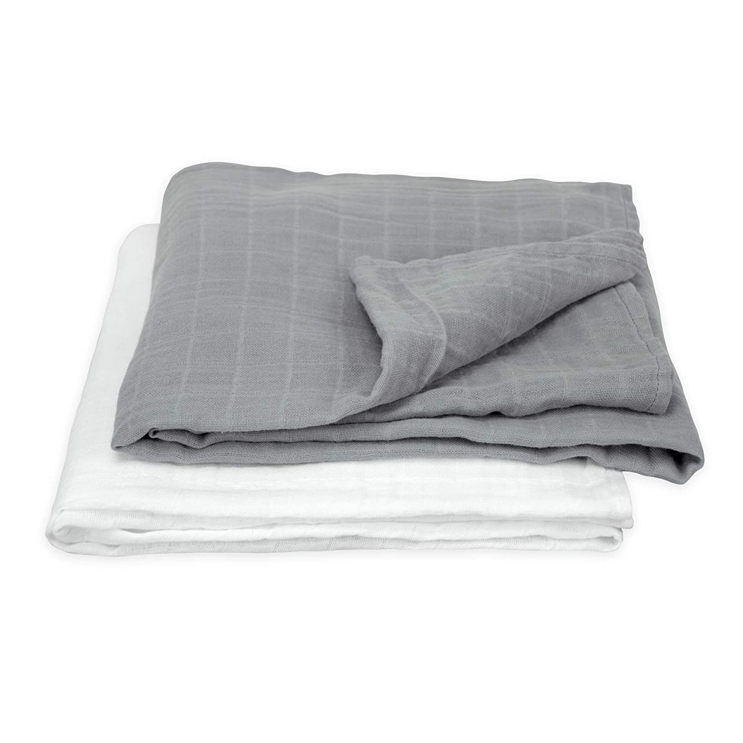green sprouts Muslin Swaddle Blankets made from Organic Cotton   Generously sized for easy swaddling   Super soft & softer with every wash, Gray Set