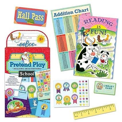Amazoncom Eeboo Pretend Play School Set Toys Games