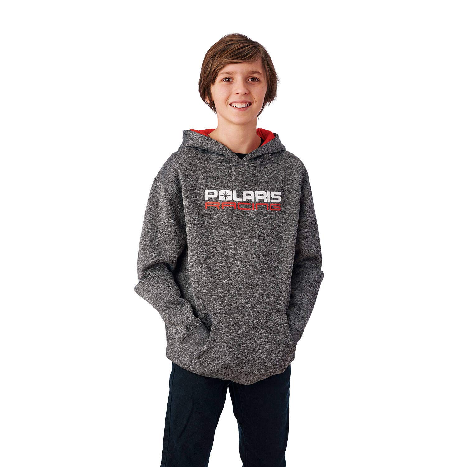 Gray Polaris Youth Racing Hoodie Sweatshirt with Polaris Logo