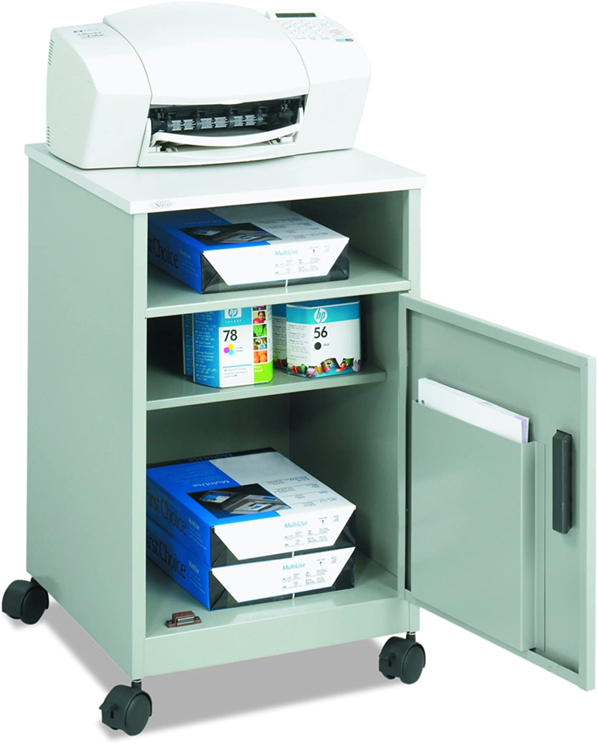 Safco Products 1871GR Compact Machine Stand with Single Door Storage, Gray