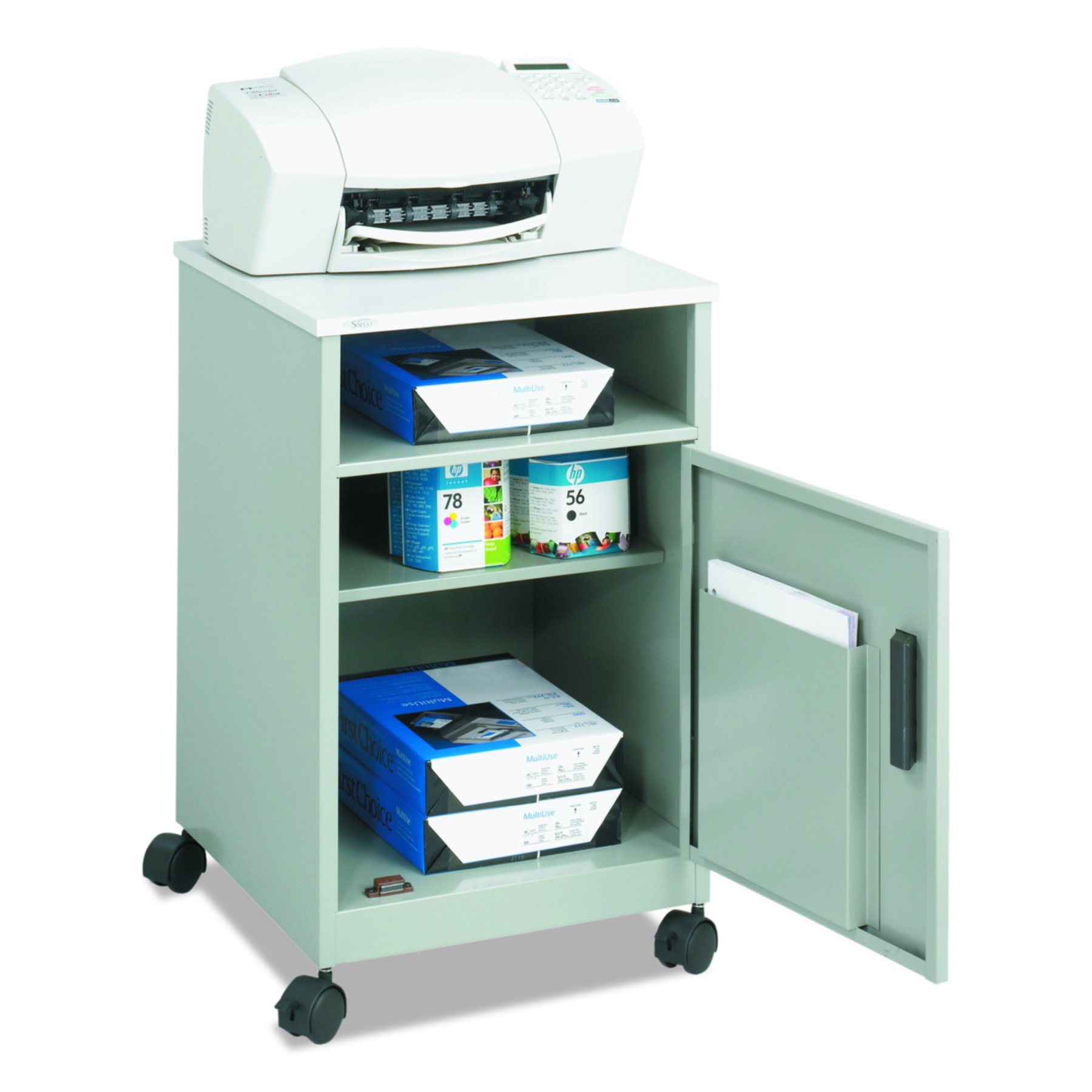 Safco Products Compact Machine Stand with Single Door Storage, Gray by Safco