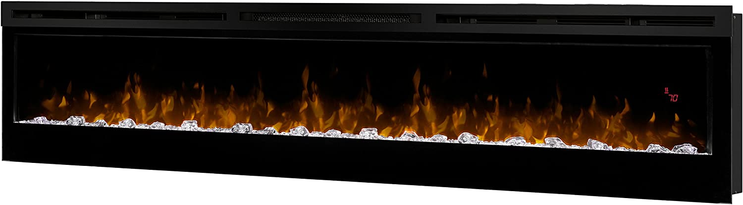 "Dimplex Prism Series 74"" Wall-Mounted Electric Fireplace with Acrylic Ember Bed"