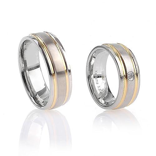 Acero inoxidable Karisma anillos de boda anillos chapado en oro R9195s patne HSR4320