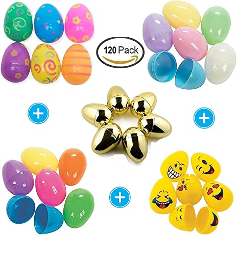 Amazon Com 120 Assorted Plastic Easter Eggs With Bright Color