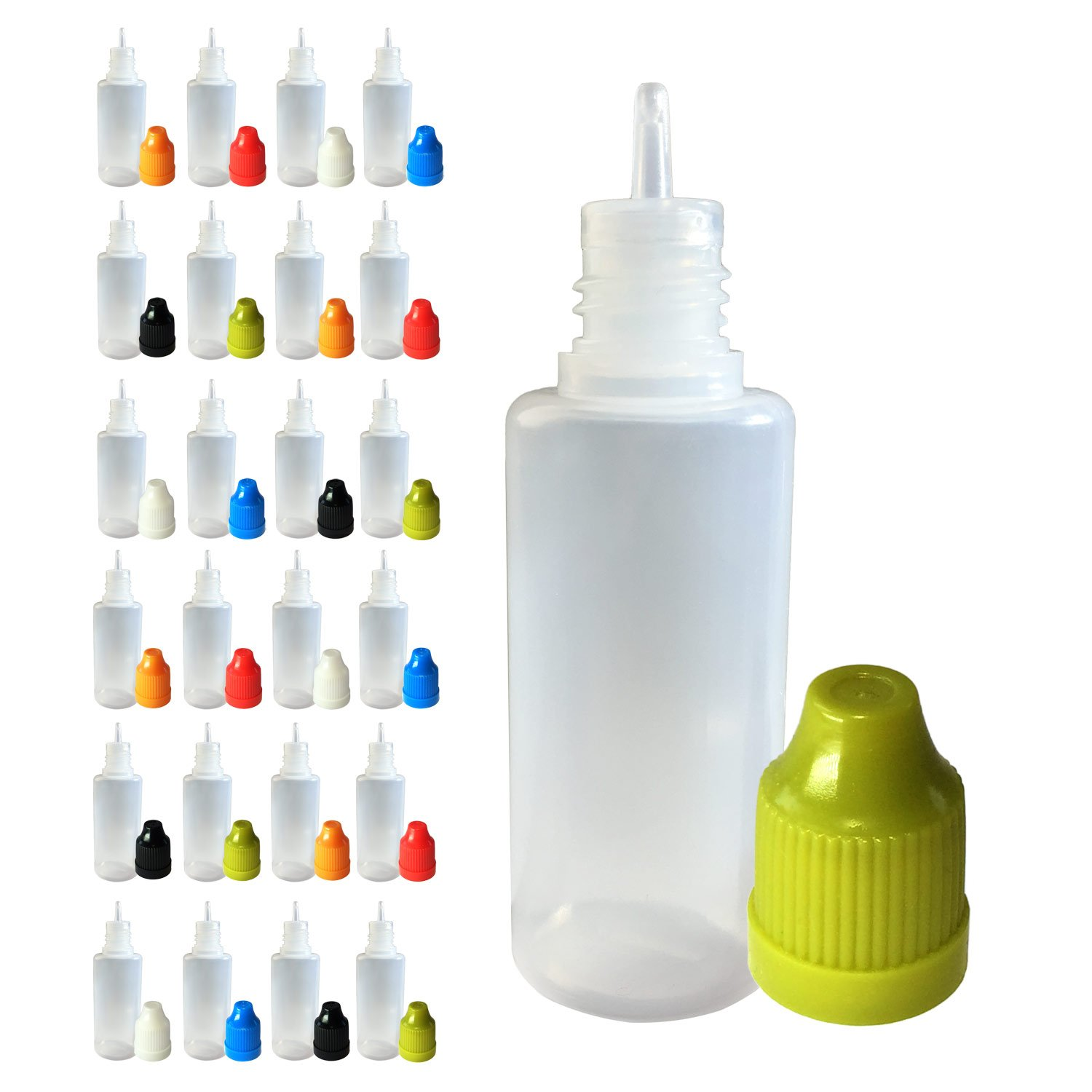 510 Central 20mL LDPE Plastic Thin Tip Dropper Bottles 25 Pack Multi Color Caps