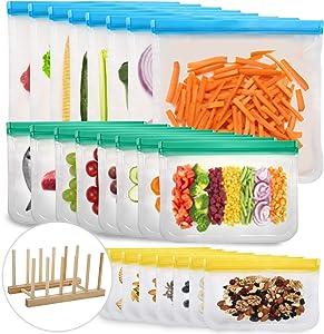 Reusable Food Storage Bags, 24 Pack BPA Free Reusable Freezer Bags, Leakproof Storage Bag for Food (8 reusable gallon bags & 8 reusable sandwich bags & 8 reusable snack bags)
