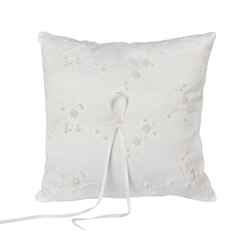 Somnr®Elegant Scattered Seed Pearl Ring Bearer Pillow for Wedding Party Prom (White)