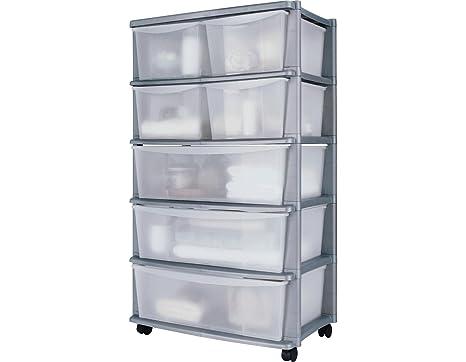 Delex® premium plastica tower cassettiera con 7 cassetti su ruote